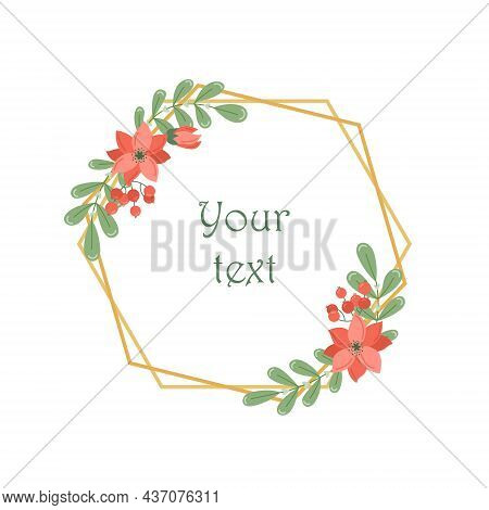 Botanical Vector Round Frame With Plants And Flowers. Floral Wreath