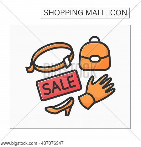 Leather Accessories Color Icon. Sale On Casual Accessories. Leather Shoes, Bags, Gloves. Shopping Ma
