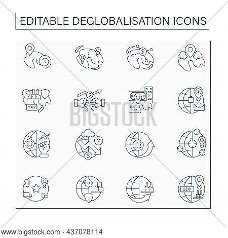Deglobalisation Line Icons Set.diminishing Interdependence And Integration. World Economy Concept. I
