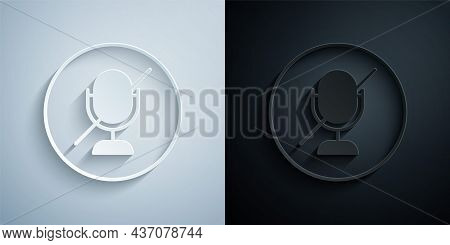 Paper Cut Mute Microphone Icon Isolated On Grey And Black Background. Microphone Audio Muted. Paper
