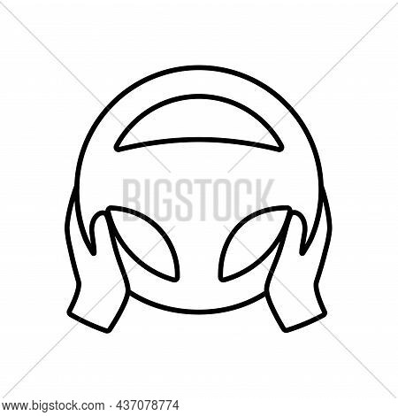 Steering Wheel Icon. Hands On Steering Wheel. Driver. Driving Car Symbol. Test Drive. Outline Illust
