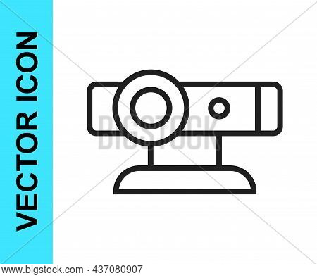 Black Line Web Camera Icon Isolated On White Background. Chat Camera. Webcam Icon. Vector