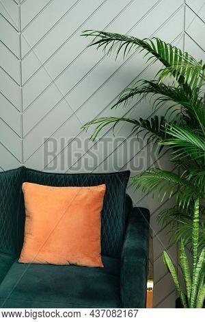 Retro jungle green living room with sofa interior design
