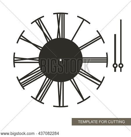 Stylish Dial With Roman Numerals. Wall Clock With Arrows In The Loft Style. Simple Design, Minimalis