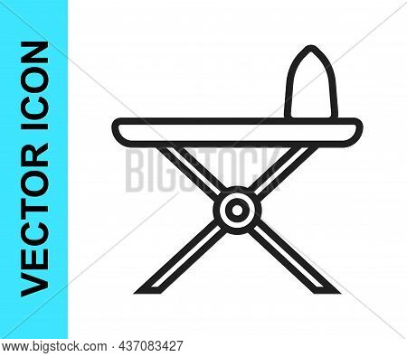Black Line Electric Iron And Ironing Board Icon Isolated On White Background. Steam Iron. Vector