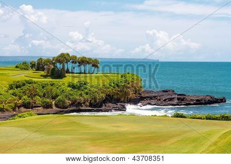 Golf fields and the ocean