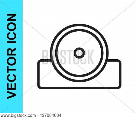 Black Line Otolaryngological Head Reflector Icon Isolated On White Background. Equipment For Inspect
