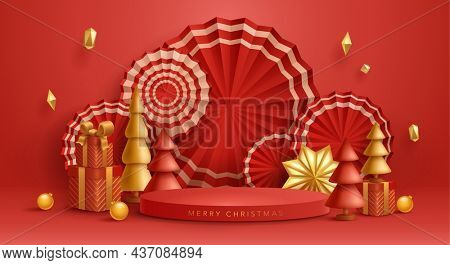 3D illustration of Christmas red and golden theme product display background with paper fan, Christmas festive decoration and podium.