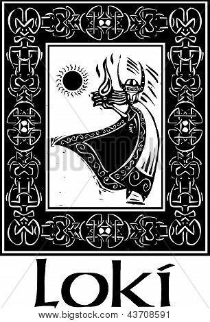 Norse God Loki With Border