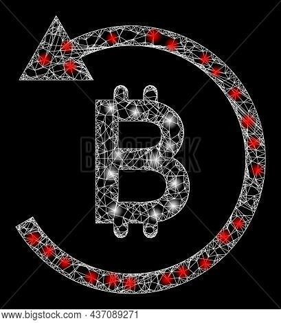 Flare Net Mesh Bitcoin Chargeback With Lightspots. Vector Carcass Based On Bitcoin Chargeback Icon,