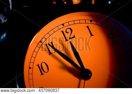 Five Minutes To Midnight. Changing The Clocks, Time Adjustment, Daylight Savings Or New Year Concept