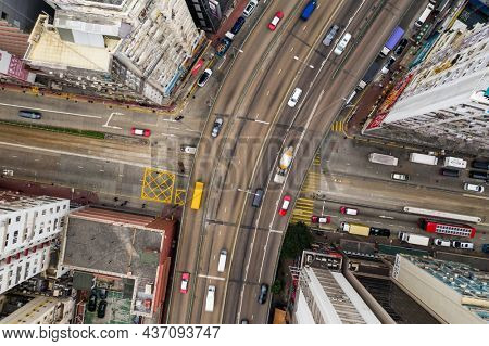 Causeway Bay, Hong Kong 11 January 2021: Top down view of traffic in Hong Kong city