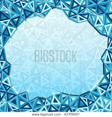 Abstract triangles vector geometry background with glass place for your text poster