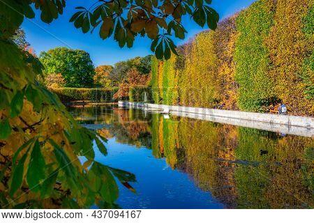 Gdansk, Poland - October 18, 2021: Autumn in the Oliwa Park of Gdansk, Poland