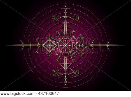Magic Ancient Viking Art Deco, Gold Vegvisir Navigation Compass Ancient. The Vikings Used Many Symbo