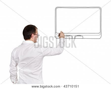 Man Drawing Touch Pad