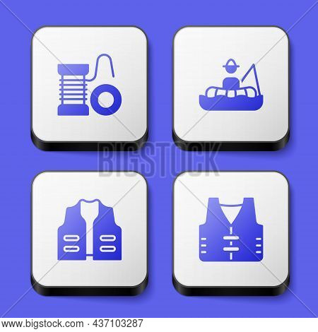 Set Spinning Reel For Fishing, Fisherman Boat, Fishing Jacket And Icon. White Square Button. Vector