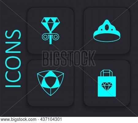 Set Shopping Bag Jewelry, Stud Earrings, King Crown And Diamond Icon. Black Square Button. Vector