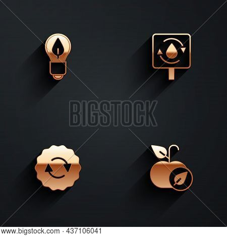 Set Light Bulb With Leaf, Recycle Clean Aqua, Symbol And Apple Icon With Long Shadow. Vector