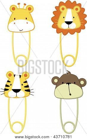 cute baby animals safety pins isolated on white background, vector format very easy to edit, individual objects poster