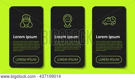 Set Line Taxi Driver, Location Taxi Car And Waiting Time. Business Infographic Template. Vector