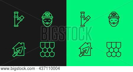 Set Line Roof Tile, House With Trowel, Industry Metallic Pipe And Builder Icon. Vector