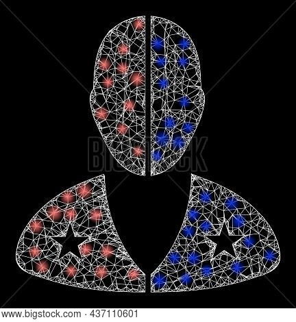 Sparkle Net Mesh American Man With Glowing Spots. Vector Frame Generated From American Man Icon, And
