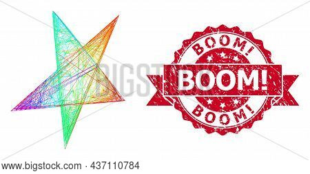 Bright Colorful Wire Frame Asymmetrical Star, And Boom Exclamation Scratched Ribbon Seal Imitation.