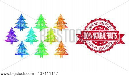 Spectrum Colorful Network Fir Forest, And 100 Percent Natural Fruits Textured Ribbon Stamp. Red Stam