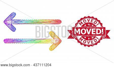 Rainbow Colored Network Flip Arrows Horizontally, And Moved Exclamation Grunge Ribbon Stamp Seal. Re