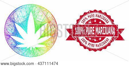 Rainbow Colorful Wire Frame Medical Cannabis, And 100 Percent Pure Marijuana Rubber Ribbon Stamp Sea