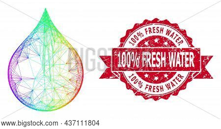 Bright Vibrant Wire Frame Water Drop, And 100  Percent Fresh Water Corroded Ribbon Seal Print. Red S