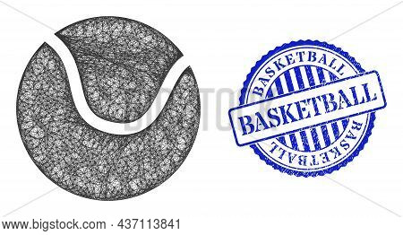 Vector Network Tennis Ball Frame, And Basketball Blue Rosette Dirty Stamp. Hatched Frame Network Ima