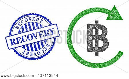 Vector Net Thai Baht Repay Model, And Recovery Blue Rosette Textured Stamp Seal. Crossed Carcass Net