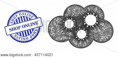 Vector Crossing Mesh Virus Cloud Wireframe, And Shop Online Blue Rosette Dirty Stamp. Linear Frame N