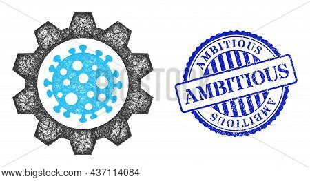 Vector Crossing Mesh Virus Gear Frame, And Ambitious Blue Rosette Grunge Seal Imitation. Hatched Fra