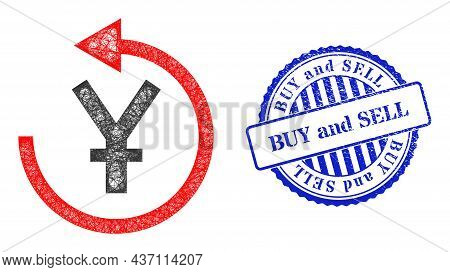 Vector Net Yen Chargeback Frame, And Buy And Sell Blue Rosette Dirty Stamp Seal. Crossed Frame Netwo