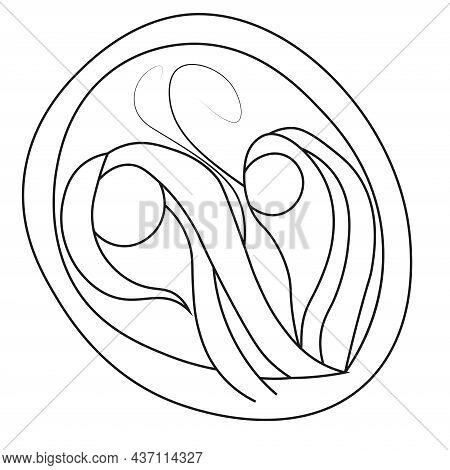 Contour Giardia Lamblia Cyst Protozoan. Vector Illustration Of A Microorganism. Black And White Cont