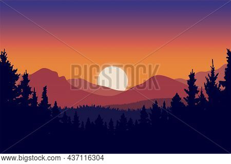 Natural Scenery At Sunset In Mountains And Forest, Twilight Color Gradation In Beautiful Sky, Beauti
