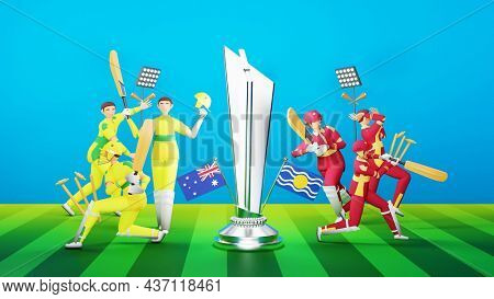 3D Participating Cricket Team Of Australia VS West Indies With Silver Winning Trophy On Green And Blue Background.