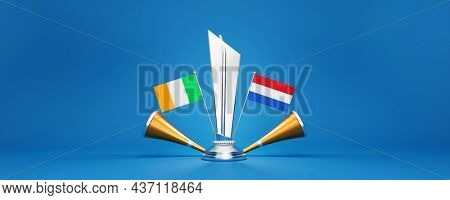 3D Silver Winning Trophy With Participating Countries Flags Of Ireland VS Netherlands, Golden Vuvuzela And Copy Space.