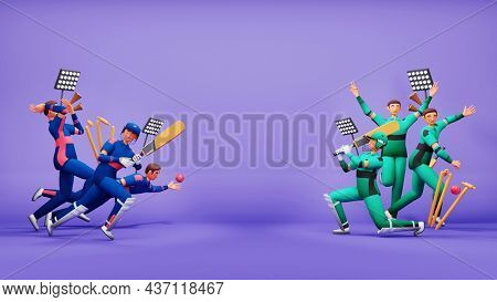 3D Participating Cricket Team Of Namibia VS Ireland With Tournament Equipments And Copy Space On Purple Background.