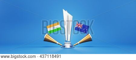 3D Silver Winning Trophy With Participating Teams Flags Of India VS New Zealand, Golden Vuvuzela And Copy Space.
