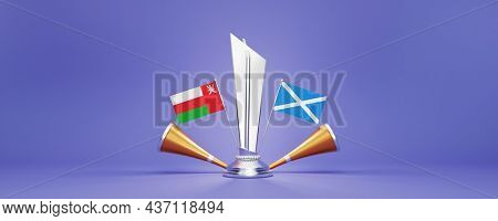 3D Render Silver Winning Trophy With Participating Team Flags Of Oman VS Scotland, Golden Vuvuzela And Copy Space On Blue Background.