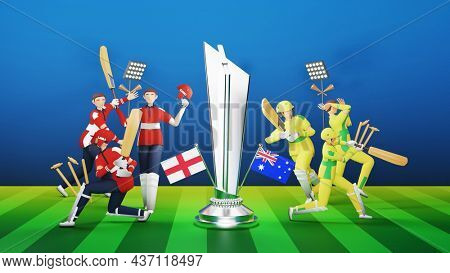 3D Participating Cricket Players Team Of England VS Australia With Silver Winning Trophy On Blue And Green Stripe Background.