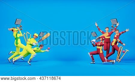 Participating Cricket Team Of Australia VS West Indies With Tournament Equipments In 3D Style.