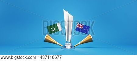 3D Render Silver Winning Trophy With Participating Team Flags Of Pakistan VS New Zealand, Golden Vuvuzela And Copy Space On Blue Background.