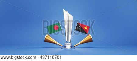 3D Silver Winning Trophy With Participating Countries Flags Of Bangladesh VS Papua New Guinea And Golden Vuvuzela On Blue Background.