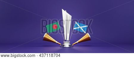 3D Silver Winning Trophy With Participating Countries Flags Of Bangladesh VS Scotland, Golden Vuvuzela And Copy Space.
