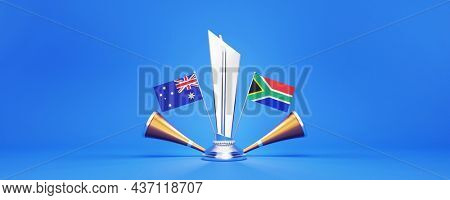 3D Silver Winning Trophy With Participating Teams Flags Of Australia VS South Africa And Golden Vuvuzela On Blue Background.